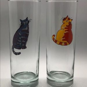 Cat Skinny Highball Glasses Set Of 2 Kitty Meow